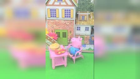 乔治坐在摇椅上,边吃东西边晒太阳,真惬意啊