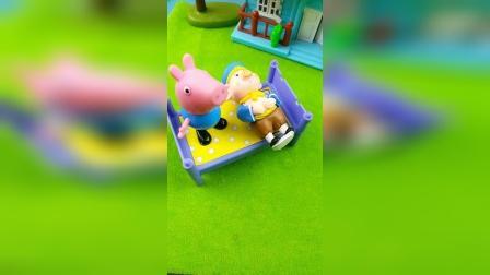 乔治和猪八戒一起睡觉,到了半夜乔治误把猪八戒当成了怪兽