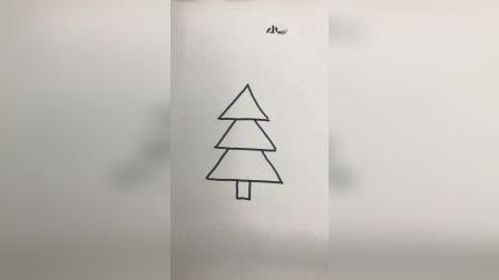 教你简单画一棵绿色的松树