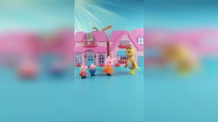 猪妈妈带佩奇乔治去游乐场,路上遇到了鸡妈妈,小猪很有礼貌
