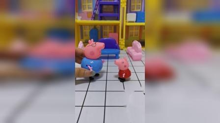 佩奇不让猪爸爸去上班,猪爸爸玩抓迷藏后自己走了