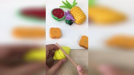 今天来切西瓜和菠萝啦,切切乐玩具