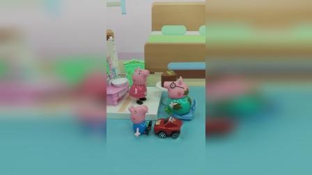 猪妈妈想买新衣服,猪爸爸不去,乔治带着妈妈去了