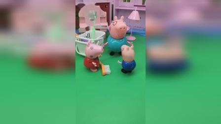 乔治想出去玩,可猪爸爸让乔治先打扫卫生