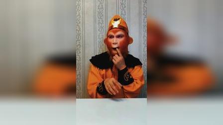 猴哥吃美味的冰冻芒果