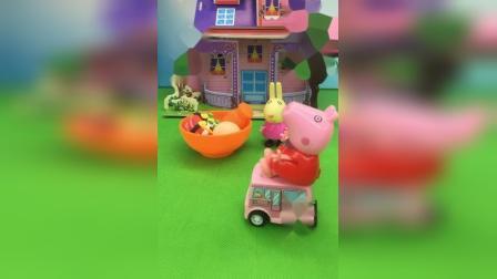 兔小姐没车不能送餐,佩奇帮兔小姐送餐,佩奇真热情!