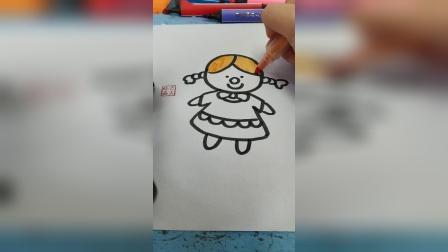 画一个可爱的小女孩