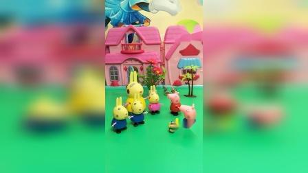 佩奇乔治遇到瑞贝卡一家,有三只小兔子