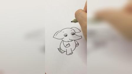 好可爱的大象#简笔画
