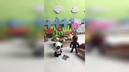 奇奇请小蜘蛛侠吃东西