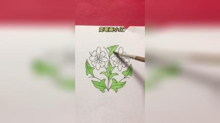 简笔画小红花