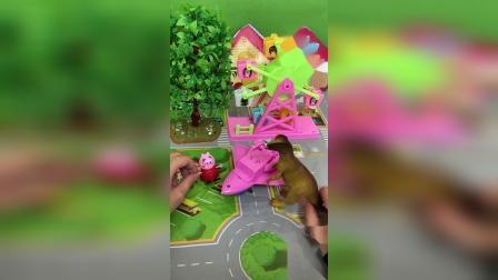 小猪佩奇:恐龙不会开飞机,把佩奇的飞机摔坏了