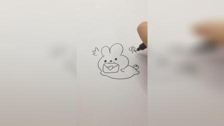 画一只收到信后开心的小兔子#简笔画