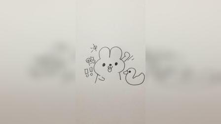 画一个加油的兔子和小鸭子#简笔画