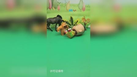 大头摔倒了,熊二把大头扶了起来