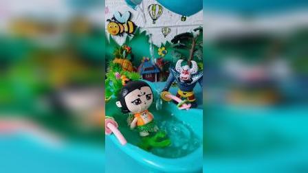 牛魔王给葫芦娃洗澡
