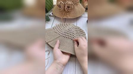 芸手工-镂空渔夫帽教程-下集