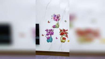 3D印花的花瓶贴纸,贴上就跟真花一样,美观又养眼