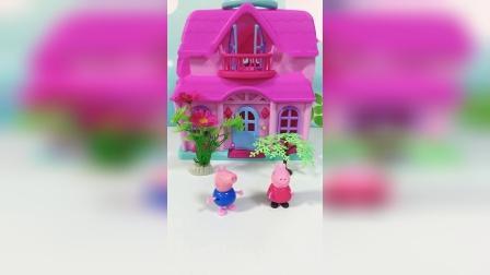 小猪佩奇吃完饭去上学,猪妈妈让佩奇等乔治,乔治半路去买蛋糕