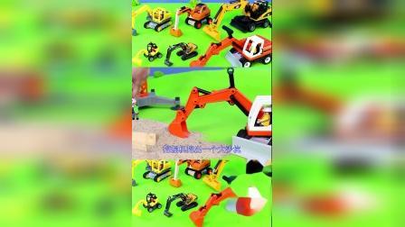 儿童玩具车表演:挖掘机、压路机修建道路!