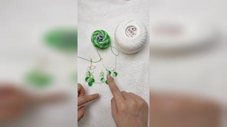 121集缎染蕾丝线叶子🍃耳环教程分享
