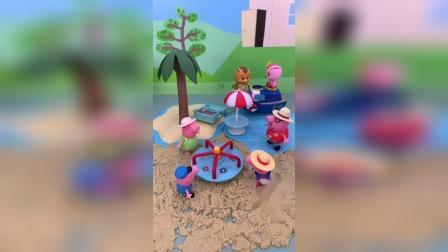 小猪佩奇一家去海边玩耍