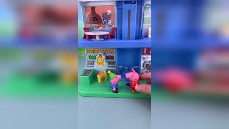 小猪佩奇玩具小故事-佩奇带弟弟吃披萨