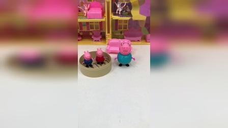 佩奇和乔治闯祸了,猪爸爸让他们躲进蒸笼里