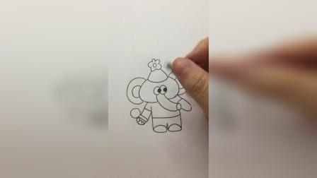 画一只可爱的大象#简笔画