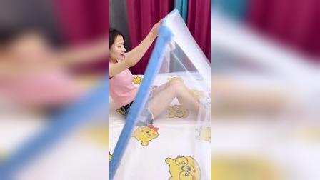 夏天到了,隔壁老王非要送我这个折叠蚊帐
