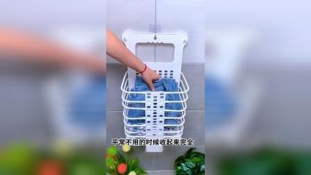有了这款折叠脏衣篮,再也不怕洗澡的时候没地方放衣服了