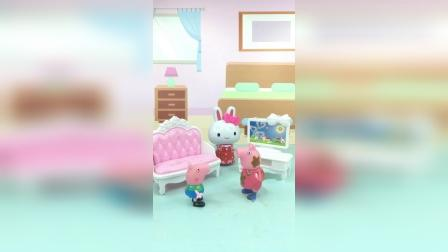 亲子玩具:乔治和猪妈妈玩角色互换