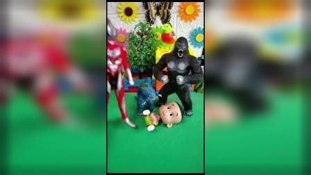 少儿玩具:大头儿子被怪兽抓了