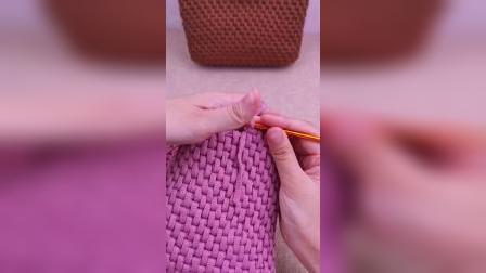 多彩线艺编织条纹针手环包教程
