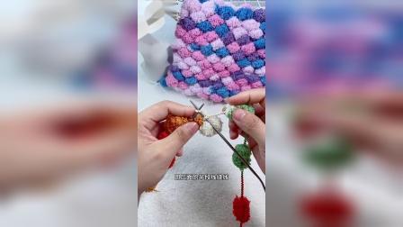 雅馨绣坊球球线单色菠萝花坐垫编织教程