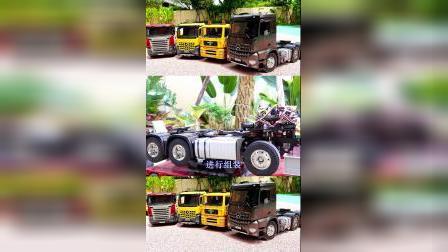 儿童益智玩具:挖掘机、吊车、大拖车组装大卡车!